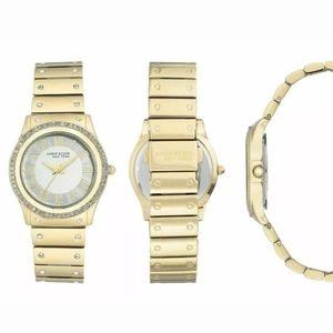 Anne Klein women's 32mm gold tone crystal watch